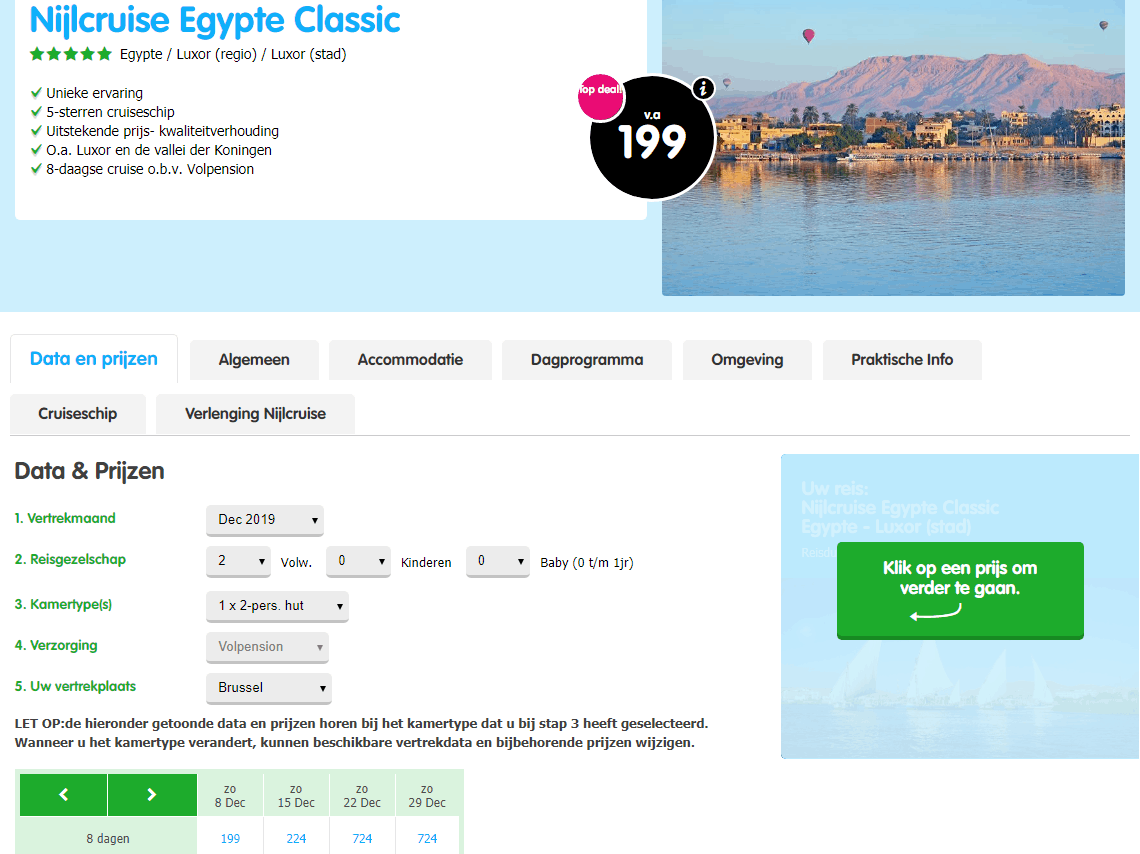 Aanbieding goedkope 5 sterren Nijl Cruise Egypte volpension inclusief vlucht Aanbieding goedkope *****Nijl Cruise Egypte, inclusief vliegreis, volpension, vanaf € 199.