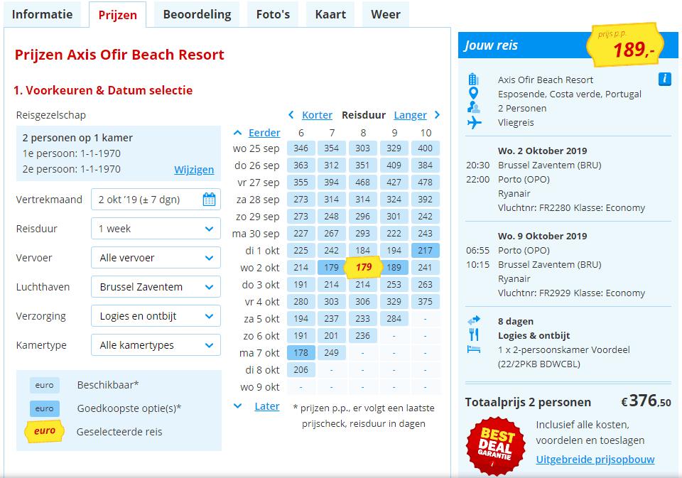 8 daagse vliegvakantie naar Portugal met verblijf aan de Costa Verde in het Axis Ofir Beach Resort voor maar 189 Euro per persoon