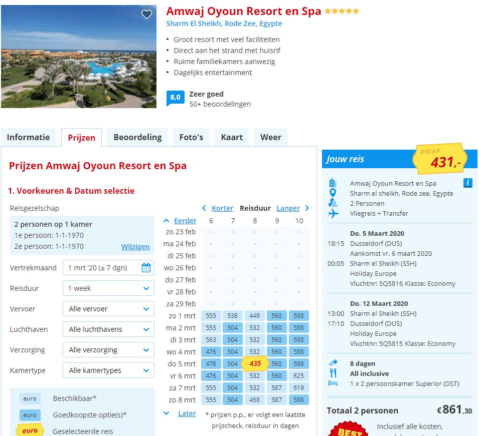 aanbiedingen all inclusive vliegvakanties Sharm el Sheikh Egypte hotels aan het strand 8 Dagen all inclusive naar Egypte, 5 ***** strandhotel vanaf € 431,