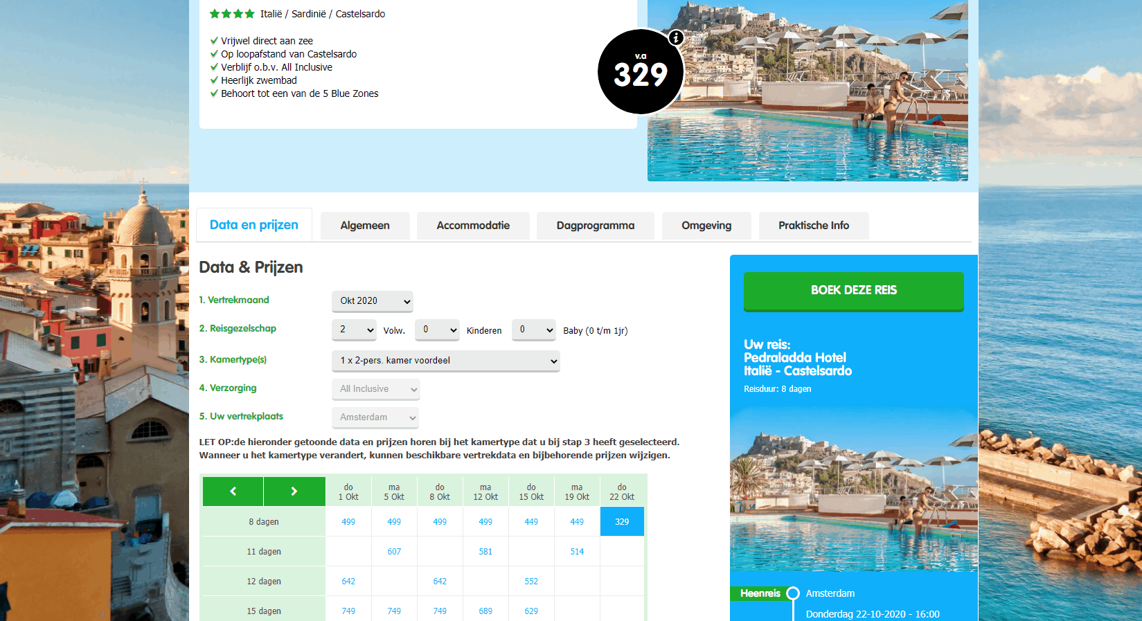 aanbiedingen goedkoopste all inclusive vliegvakanties Sardinië 2020 2 Aanbiedingen goedkope 8 daagse All Inclusive vliegvakanties Sardinië, ****Hotels, vanaf € 374.