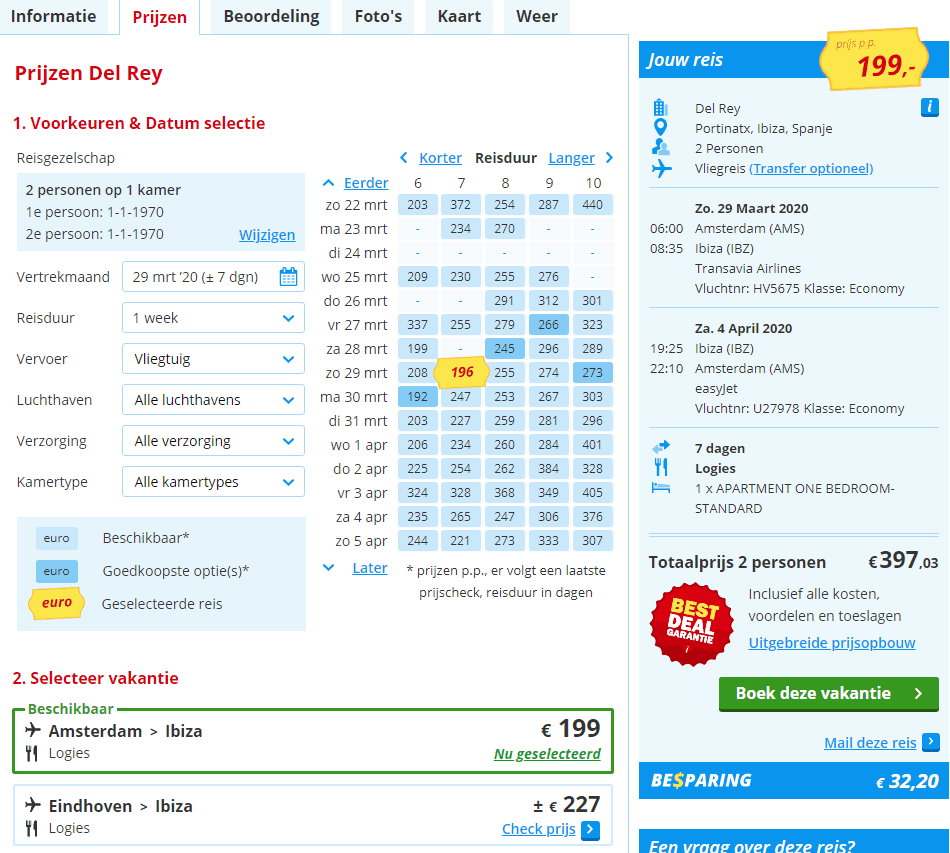 aanbiedingen goedkoopste vliegvakanties Ibiza 2019 en 2020 1 Aanbiedingen goedkope vliegvakanties Ibiza, 7 dagen, vanaf € 199.