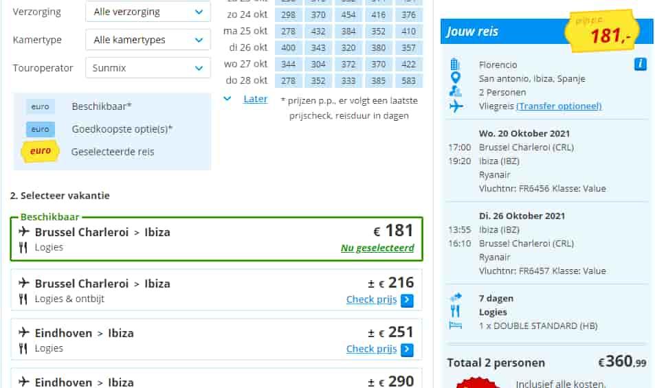 aanbiedingen goedkoopste vliegvakanties Ibiza 2021 Aanbiedingen goedkope vliegvakanties Ibiza, 7 dagen, vanaf € 181.