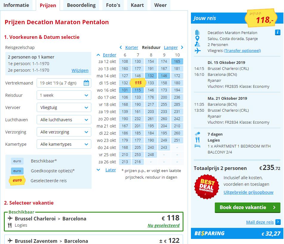 aanbiedingen goedkoopste vliegvakanties Spanje herfstvakantie 2019 Herfst vakantie aanbieding, 7 daagse vliegvakantie Spanje, Salou, vanaf € 118.