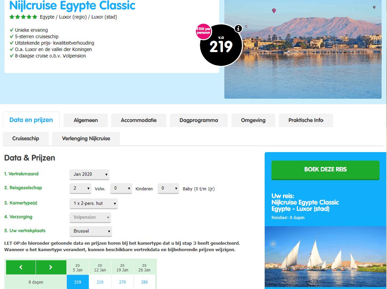 aanbiedingen goedkope Nijl Cruises Egypte inclusief vlucht volpension 2019 en 2020 Aanbieding goedkope *****Nijl Cruise Egypte, inclusief vliegreis, volpension, vanaf € 219.