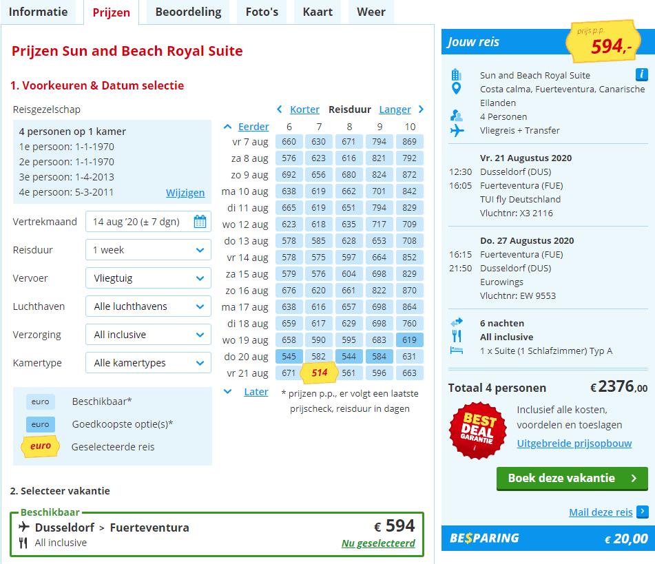 aanbiedingen goedkope all inclusive vliegvakanties Fuerteventura zomer vakantie 2020 Familie zomervakantiedeal 7 dagen all inclusive Fuerteventura voor € 2376.  (totaalprijs voor 2 volwassenen en 2 kinderen)