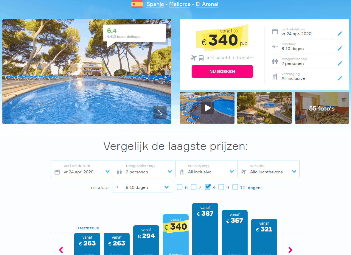 aanbiedingen goedkope all inclusive vliegvakanties Mallorca meivakantie 2020 2 Nu 8 dagen all inclusive naar Mallorca in de Meivakantie vanaf € 345.