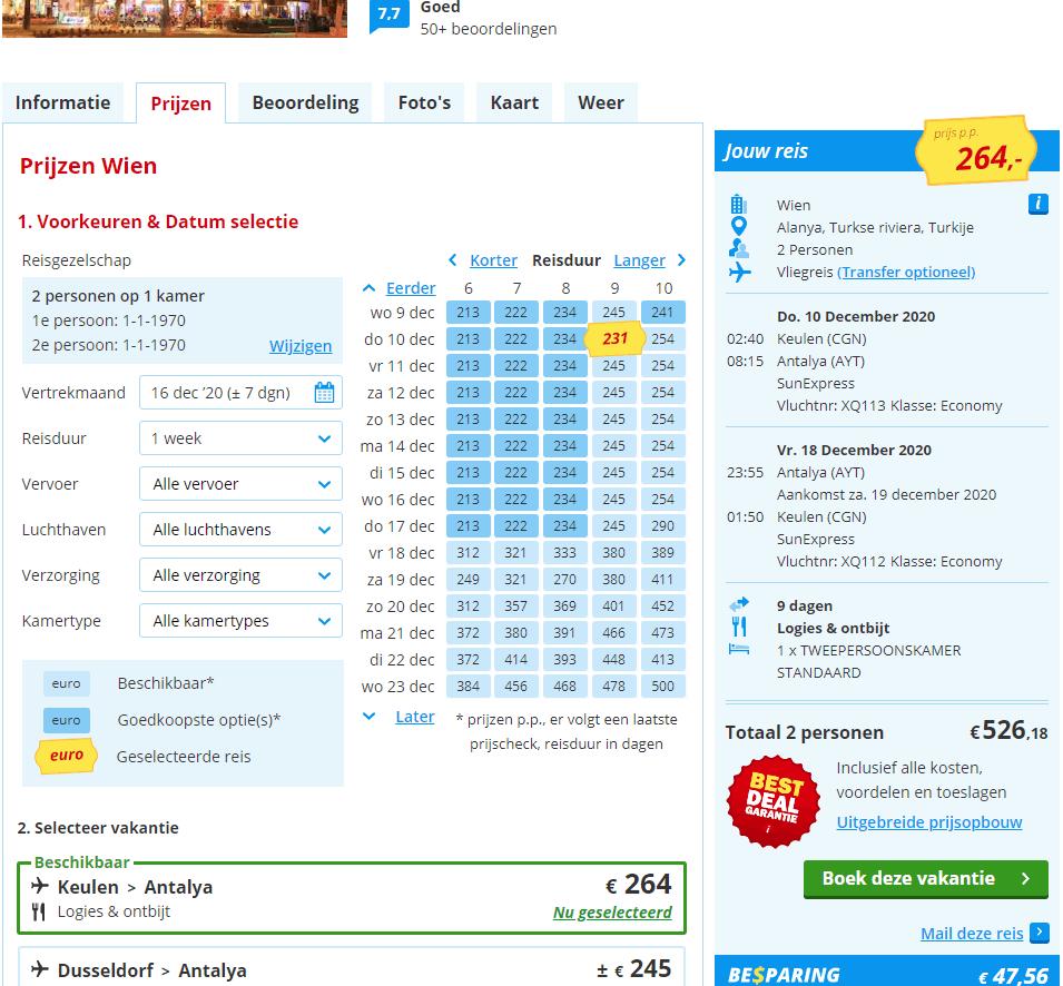 aanbiedingen goedkope lastminute vliegvakanties Turkije Alanya 2020 1 Nergens goedkoper: 9 daagse vliegvakantie naar Alanya 3 *** Hotel Wien € 264,  vertrek in December