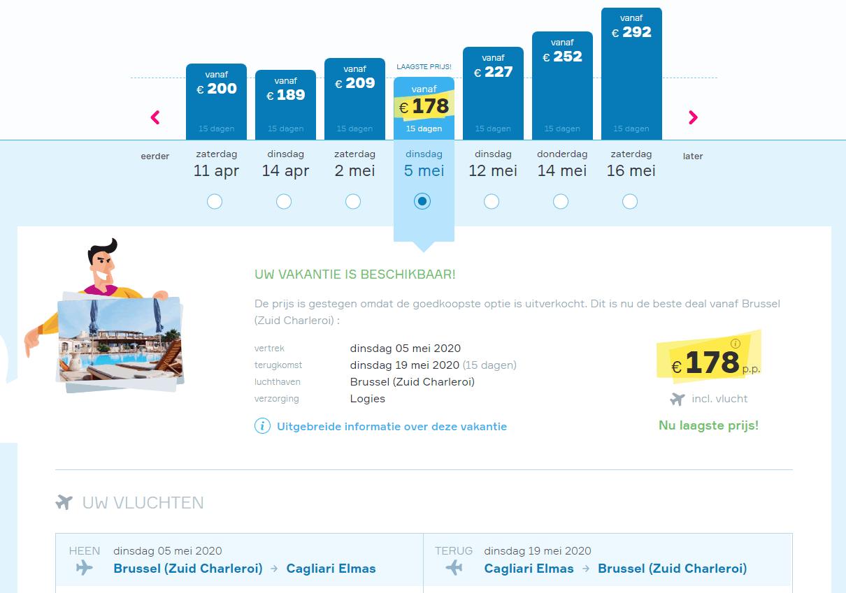 aanbiedingen goedkope vliegvakanties Sardinië 2020 Aanbieding goedkope 15 daagse vliegvakantie Sardinië, vanaf € 178. , € 89.  per week