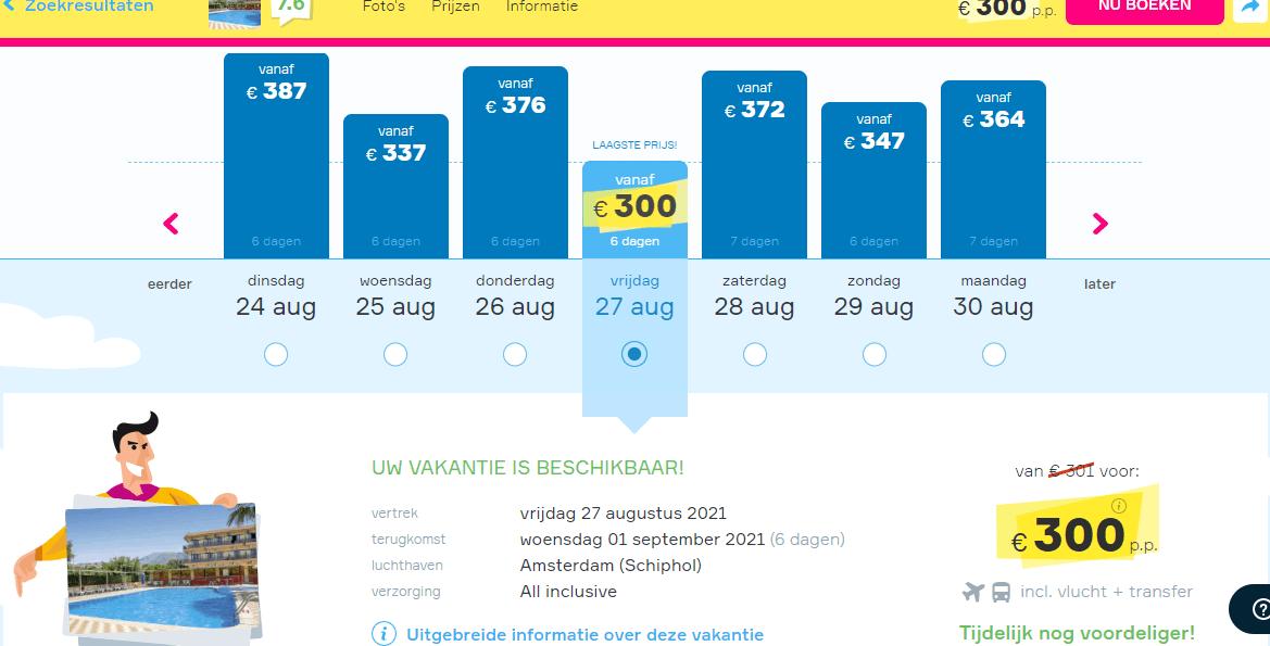 vroegboekkorting aanbiedingen goedkope all inclusive vliegvakanties Kreta augustus spetember 2021